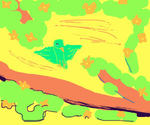 Green bird next to some flowery vines