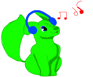 Green dog is listening to music