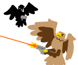 Birds with talon guns have an aerial battle