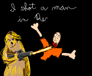 Chewbacca shooting a man