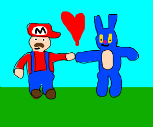 Mario holding hands with blue furry