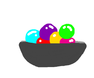 a bowl with marbles