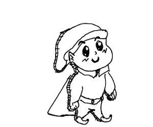 paper cutout of an elf