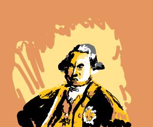 yellow guy in orange backrgound