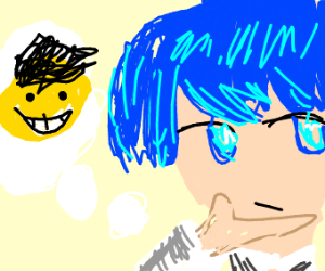 blue haired anime boy thinks about rival