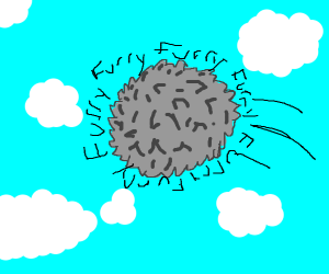 giant blue fur ball in the sky