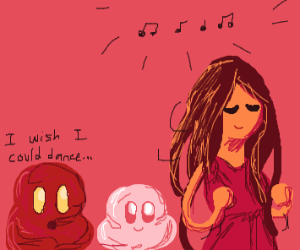 a girl dancing as the blobs watch