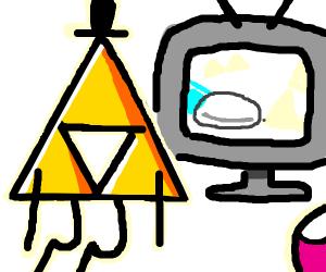 Bill cifer with a triangular hole watches tv