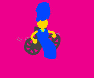 Marge Simpson rolling up in her wheelchair