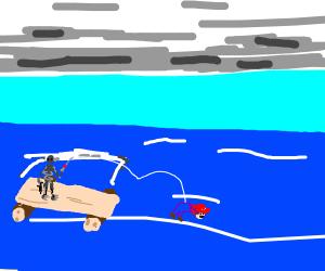 Fishing robot catches Mario