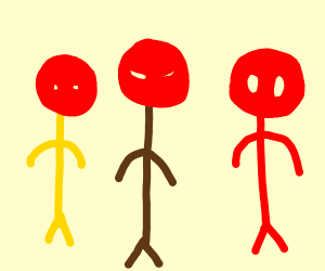 Yellow, brown and red lines with red mask