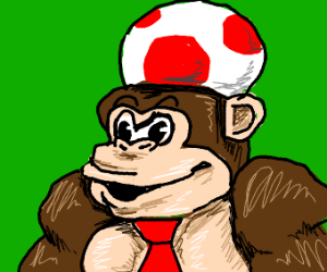 DK steals Toads mushroom head for a hat