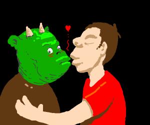 Man kissing orc