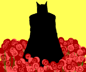 batman in a field of roses