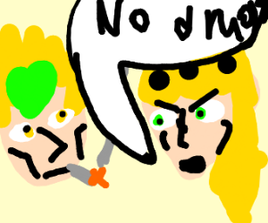 "Giorno says ""don't do drugs, Dio!"" (jjba)"
