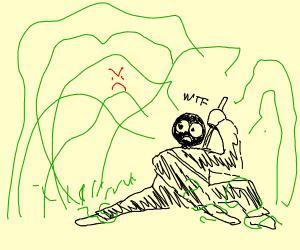 Angry grass attacks scared ninja