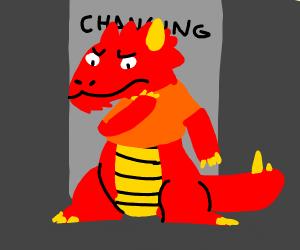 A dragon shopping clothes