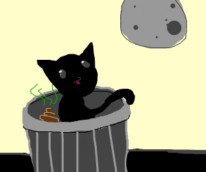 Cat poops in trash can