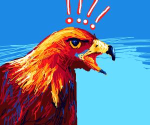 Eagle screams in horror