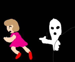 a ghost chasing someone