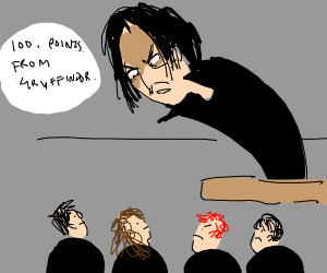 Snape is angry at Gryfindor