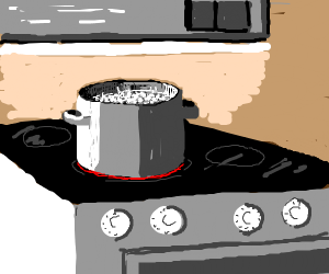 Boiling rice on stove