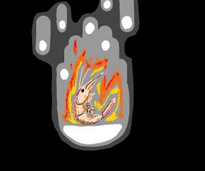 Burning shrimp