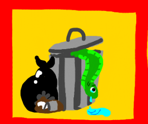 Eel crying in trash can