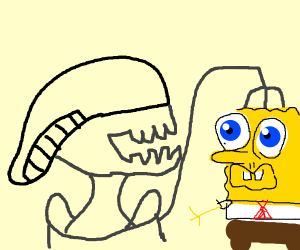 Spongebob attacked by a Xenomorph