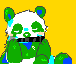 Panda and bamboo but their colours reversed