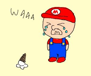 Baby Mario cries over ice cream