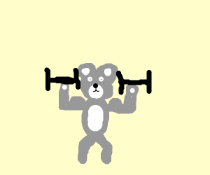 Teddy Koala Bear pumps some iron