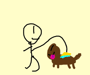 """a guy doing """"stuff"""" to a dog"""