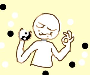 a bitten Yin - Yang Cookie