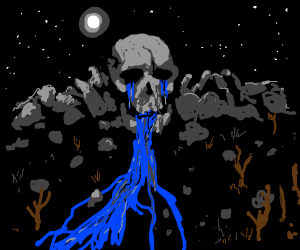 Mountain stream with a skull.
