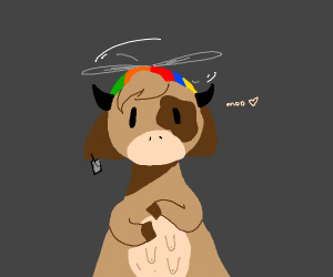 a cow with google chrome helicopter hat