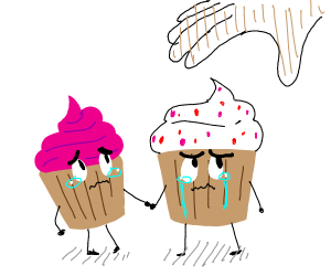 Cupcakes holding onto eachother for dear life