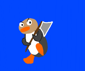 pingu with brown head kills with an axe