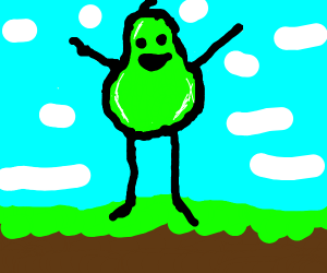 A green pear standing upright