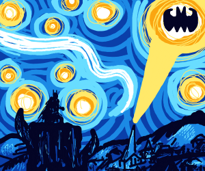 """""""Starry Starry Night"""" but with batman"""