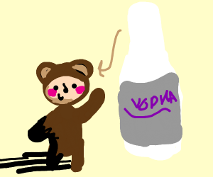 Bear man putting vodka in his ear