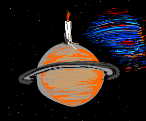 Saturn with a candle on top of it