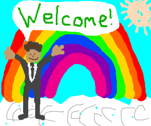 Rainbow man greets you warmly.