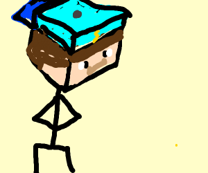 minecraft character with cool hat