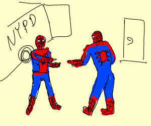 Spiderman pointing at Spiderman meme - Drawception