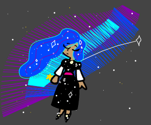 Wizard girl floating calmly in space