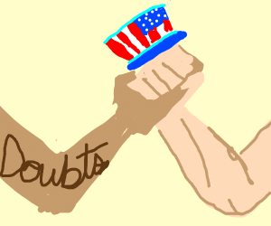Patriotic Hand Struggles with Doubts