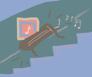 Music goes down the stairs
