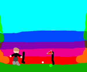 Person playing golf over the sunset
