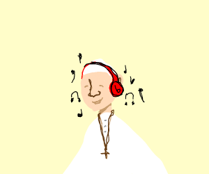 Pope listening to music with beats headphones